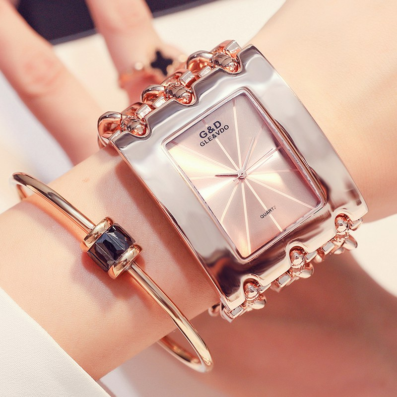 HOT Sales Fashion Watch Women Wristwatches Diamonds Rectangle Dial Stainless Steel Chain Band Analog Ladies Watches