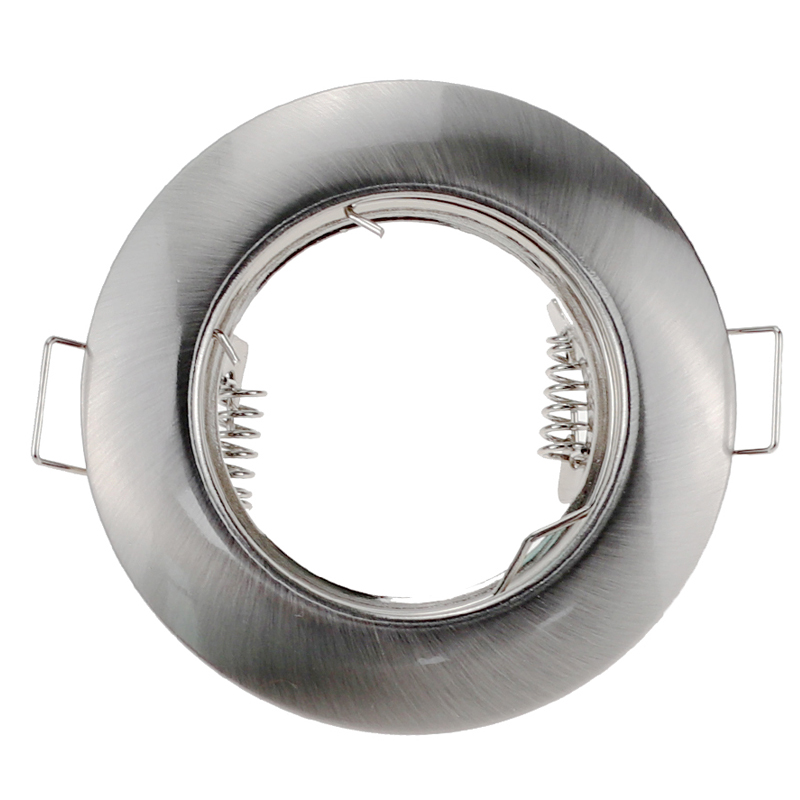 Nickel Round Recessed LED Ceiling Light Adjustable Frame MR16 GU10 Bulb Fixture Downlight Holder