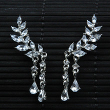 Hot Sale Womens Angel Wings Stud Earrings Rhinestone Inlaid Alloy Ear Jewelry Party Earring Gothic Feather Brincos Dropshiping