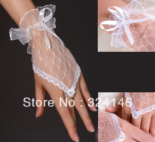 Free shipping  New Bridal gloves Wedding Bridal Gloves fingerless Short gloves Wholesale Retail, mesh/ tulle lace glove retail