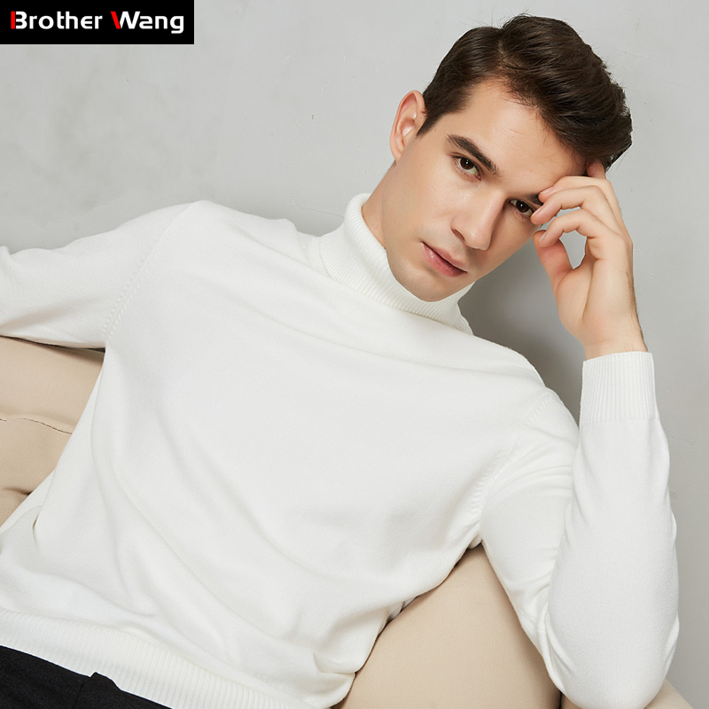 8 Color Turtleneck Sweater Men 2020 Autumn Winter New Thick Warm Slim Fit Solid Color Pullover White Sweater Male Brand Red Blue(China)