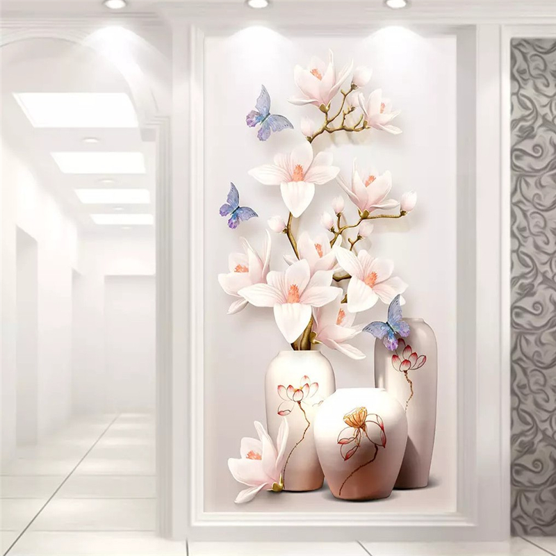 Beibehang Custom Photo Wallpaper Mural 3D Magnolia Flower Embossed Flower Vase Xuanguan Aisle Decorative Painting Papel De Pared