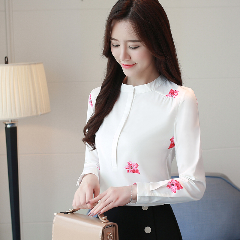 a69d60728 floral 40 Blusa De Manga Moda 2019 1042 Blusas Tamaño Mujeres Larga Mujer  Camisas Butterfly Oficina ...