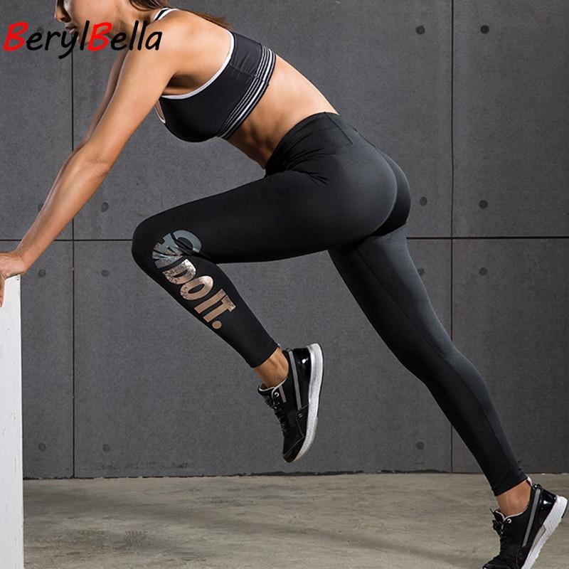 BerylBella Women Leggings Fitness Work Out Leggins 2019 Summer Gold High Waist Elastic Pants Compression Women Legging Trousers