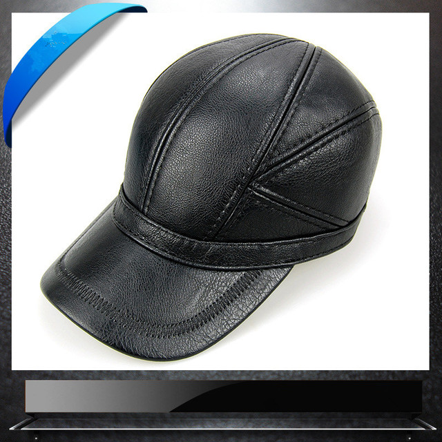 2018 Fashion Leather Baseball Cap Men Thicken Fall Winter Hats with Ears 6 Panel Keep Warm Leather Cap Male Hats Bone casquette