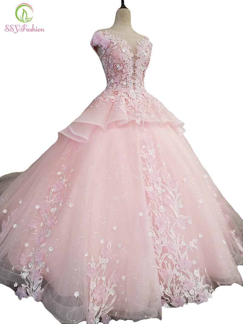 SSYFashion New Sweet Pink Lace Flower Evening Dress High-end Luxury Appliques with Beading A-line Long Party Prom Formal Gown