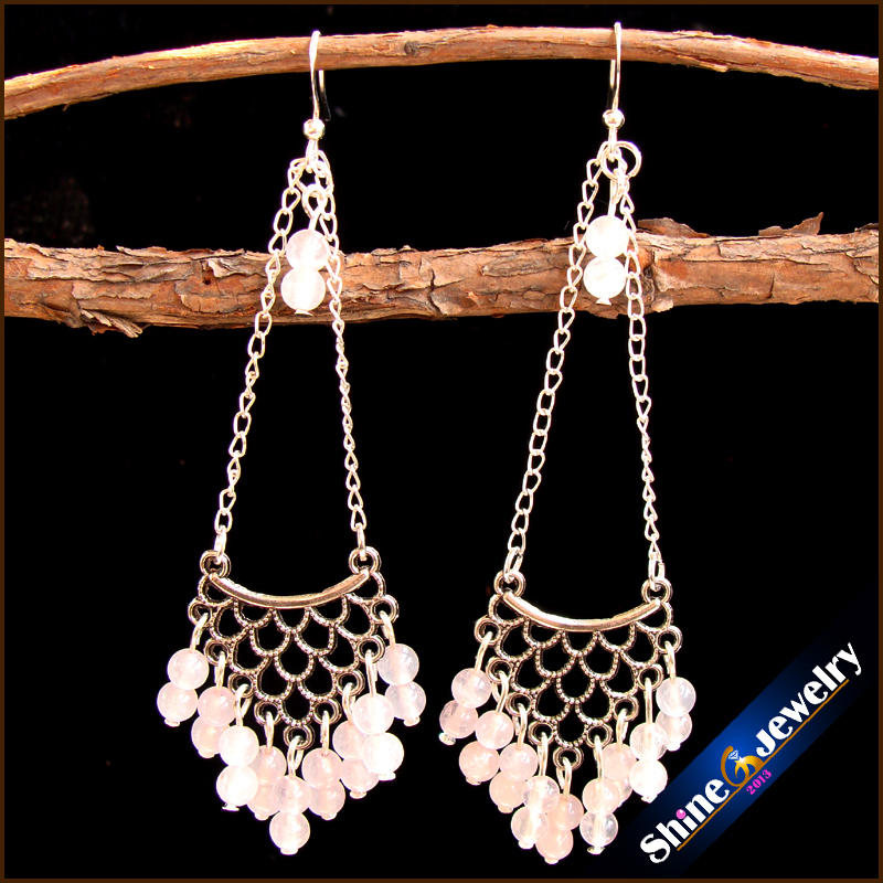 Vintage Tibetan Style Fashion Jewelry Earrings for Women with Natural Pink Quartz Stones Beads Long Dangle Earings Female -ZY33