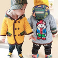 Novo 2016 outono inverno urso dos desenhos animados do bebê das meninas dos meninos com capuz tops com casaco de veludo quente e casacos infantil clothing