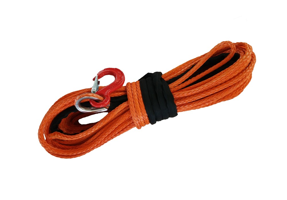 "3/8"" x 100' trail gear rock recovery winch rope with hook free shipping"