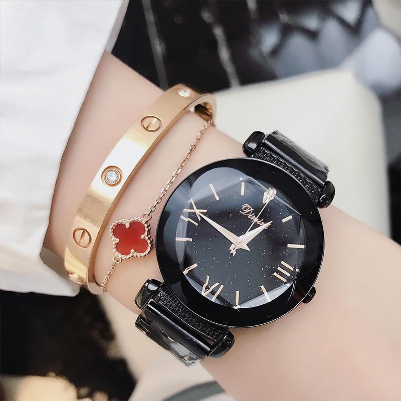 все цены на Watch Woman Luxury Brand 2018 Women Lady Ladies Wrist Watch New Fashion Starry Sky Zegarek Damski Montre Femme Relogio Feminino онлайн