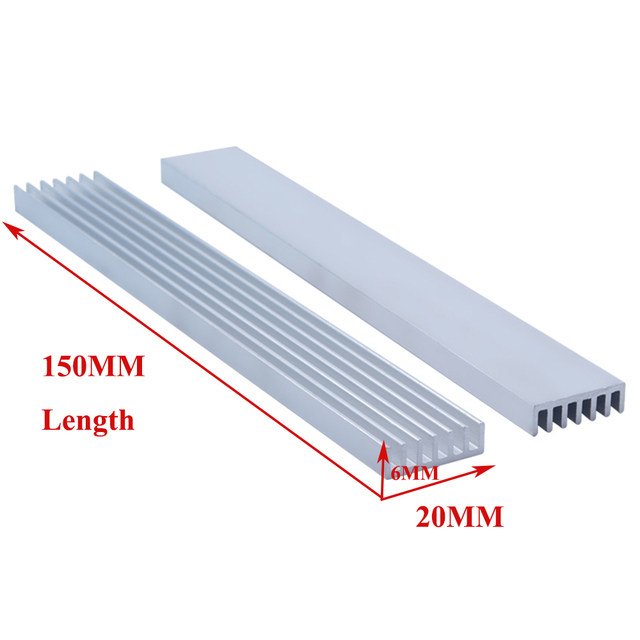 1PC High-power Aluminum Heat Sink Dense Tooth Radiator 150x20x6MM Electronic Cooling Plate Aluminum Bar
