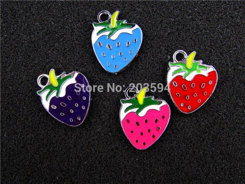 AE503 Mix Color 20Pcs Alloy Metal Enamel Strawberry Charms Pendants 23x20mm