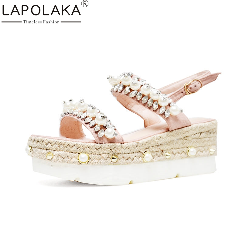 LAPOLAKA 2018 Summer Brand Quality Natual Suede Women Sandals Sweet Thick Platform Wedges Shoes Woman Crystal Casual Shoes lapolaka 2018 brand new horsehair woman elegant wedges high heel women shoes platform black summer sandals women