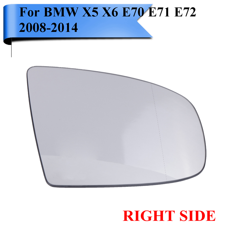 Right Side For BMW X5 X6 E70 LCI E71 E72 M Sport SUV xDrive 2008-2014 Wide Angle Heated Wing Mirror Glass With Bracket #W106-R right side housing clear front fog light lamp cover for bmw x6 e71 e72 oem 63177187630 car styling