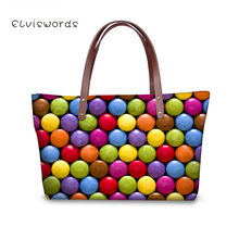 ELVISWORDS Women Large Handbags Shoulder Bags Colorful Candies Printing High Quality stylish for Ladies Female 2019 New elviswords women large handbags shoulder bags creative dogs cat pattern high quality stylish for girls female large capacity new