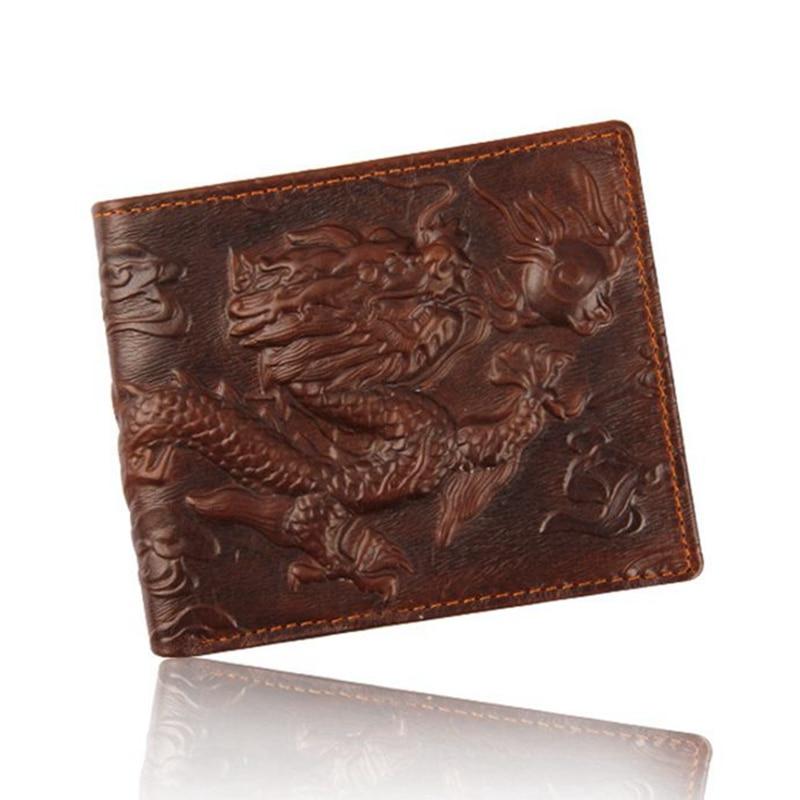 цена High Quality Men's Genuine Leather 2017 new well-known brand design men's short wallet Chinese wind purse 3D real dragon wallet онлайн в 2017 году