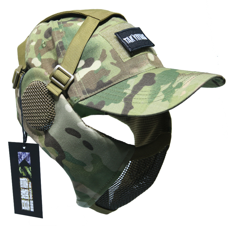 TAK YIYING Tactical Foldable Mesh Mask With Ear Protection With Cap For Airsoft Paintball Mask