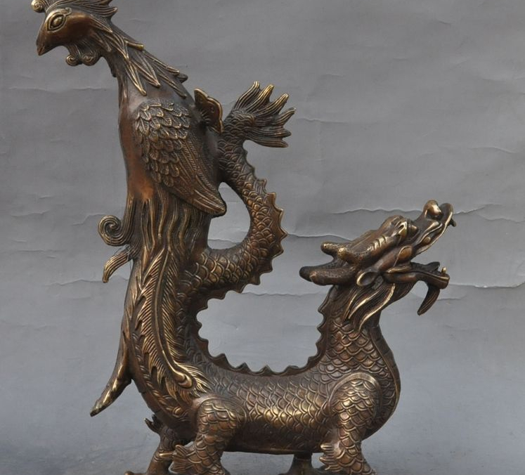 "15""Auspicious chinese palace bronze fengshui dragon phoenix statue art Figurines