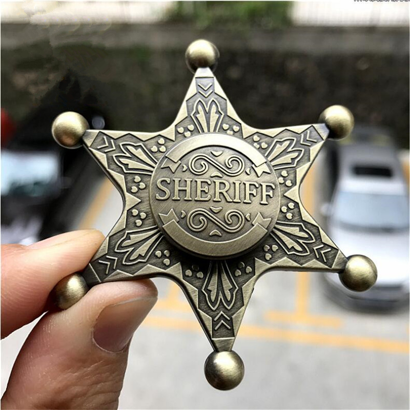 Hot New Sheriff Top USA Police Badge Cosplay Costumes Props Accessories Sheriff Hexagon Neptune Zinc Alloy Fidget Spinner