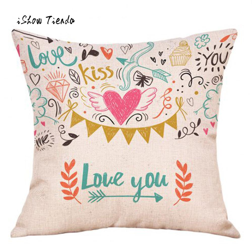 Happy Valentines Day Pillow Cover Fashion Throw Pillow Cases Cafe Sofa Cushion Cover Home Decor Best Present Home Decoraion