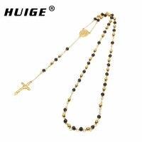 Gold Black Tone Catholic Jesus Cross Rosary Bead Necklace Goddess Jesus Christ Cross Pendant Mens Womens