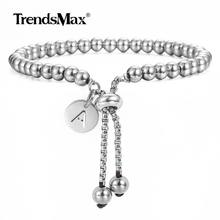 Trendsmax Adjustable Beaded Bracelets Stainless Steel Initial Letter Charm Bracelet for Men Women Jewelry Gift DB249