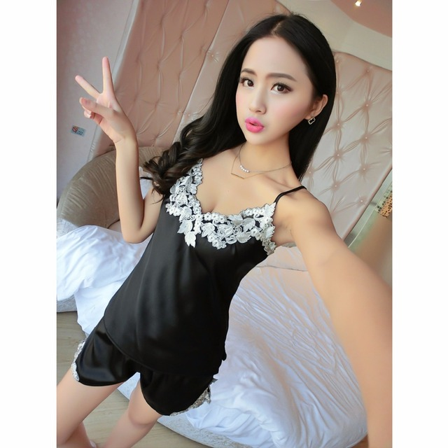 8f15e4b298b Puseky Ladies Sexy Lace Imitated Silk Strappy Top   Shorts Sleepwear  Lingerie Nightwear Set Nightdress Lace