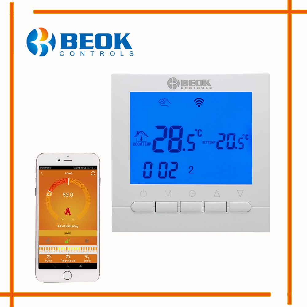 Beok Bot 313wifi Gas Boiler Heating Thermostat Bluewhite Ac220v Wi Fi 5 Wire Wiring Diagram Wifi Temperature Regulator For Boilers Weekly Programmable In Instruments From