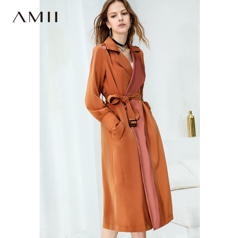 Amii Casual Women Minimalist 2018 Autumn   Trench   Coat Chic Patchwork Office Lady Elegant Long Female   Trench   Coats