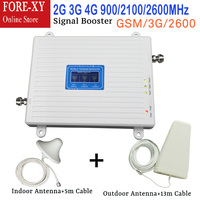New tri band 900 / 2100 / 2600 repeater 3g 2100mhz lte 4g gsm 900mhz cell phone signal booster Amplifier with antenna full set