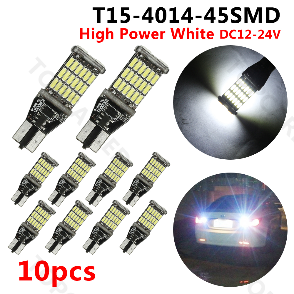 car-styling 10x T15 W16W LED CANBUS  4014 Chip High Power Backup Reverse Light for BMW E39 E60 E90 F10 M5 2pcs 12v 31mm 36mm 39mm 41mm canbus led auto festoon light error free interior doom lamp car styling for volvo bmw audi benz