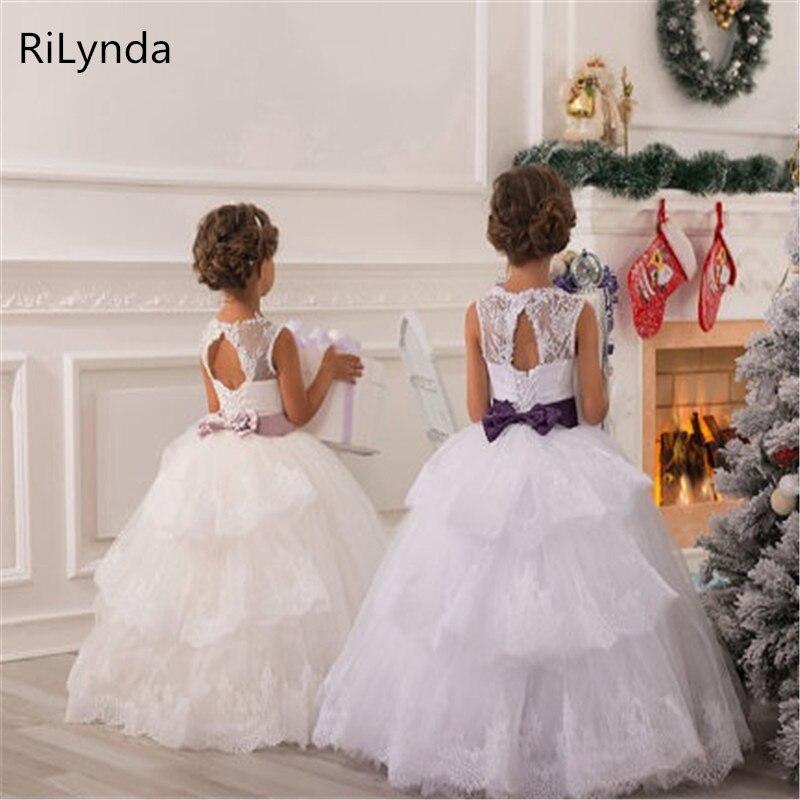 Kids White Tulle Long Flower Girl Dresses For Weddings Ball Gown Bow Girl Party Communion Dress Pageant Vestido Formal Dresses