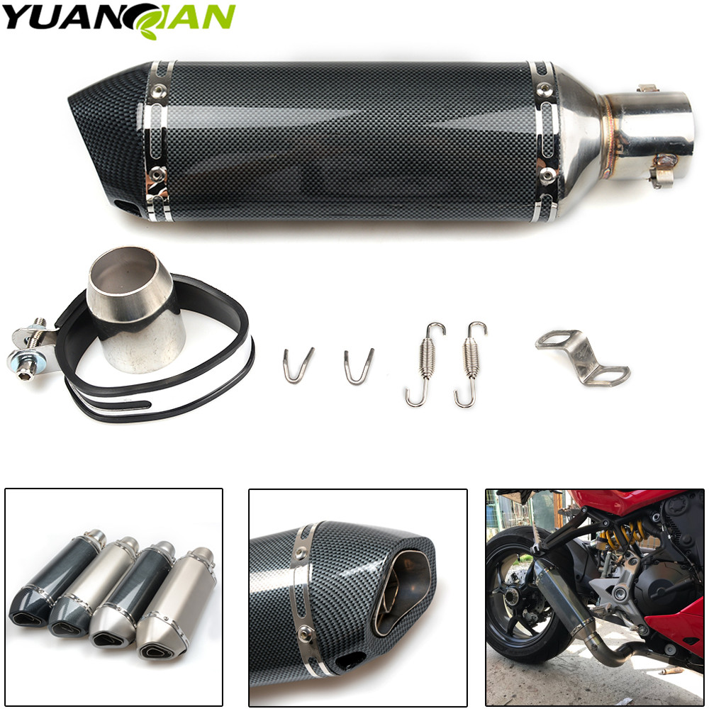 Carbon fiber 51MM Exhaust Muffler Pipe Racing Moto escape Fit for most motorcycle ATV 125-1000cc Nice Sound Escape Exhaust Pipe