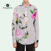 Fashion Blouses Casual Female Shirt Women Long Sleeve Floral Print Striped Blouse For Women