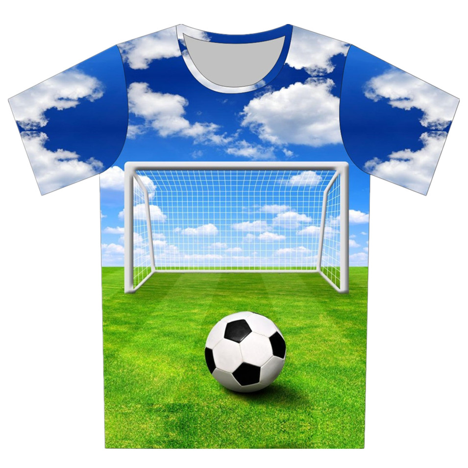 New 2018 Summer Mens Blue Color T Shirt 3D Print Football Green Weed Sky Brand Design Casual T-Shirt Sport Style Tee Tops