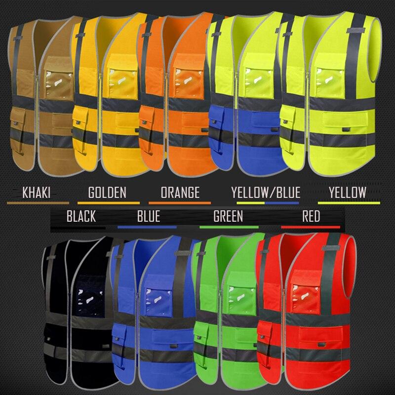 SFvest gilet réfléchissant gilets de sécurité réfléchissants multi poches fluorescent jaune orange multi options de couleur impression en soie