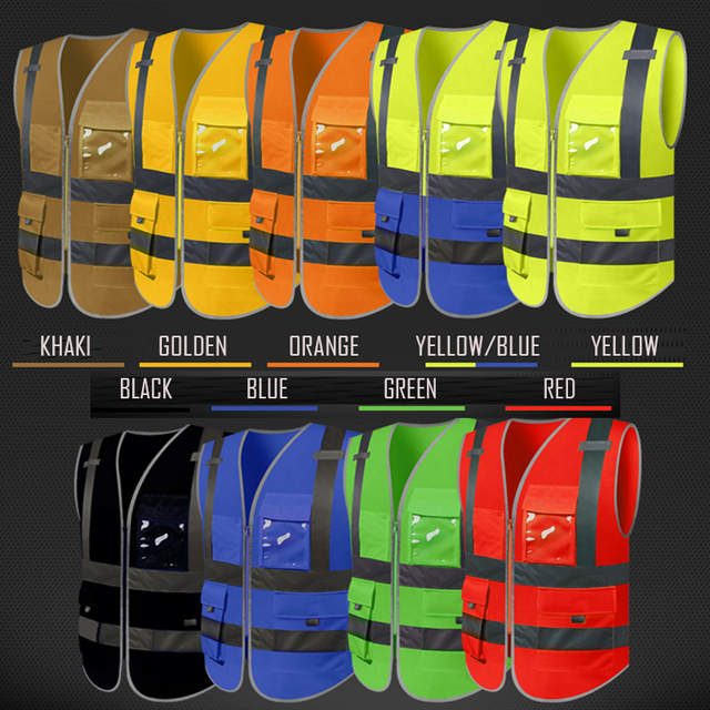 SFvest reflective waistcoat safety vests reflective multi pockets fluorescent yellow orange multi color options silk printing