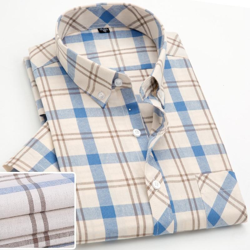 New Plaid Men's Short Sleeve Shirt Fashion Casual Slim Fit Korean Check Foraml Shirt Pure Cotton Blouse Camisa Social Heren Shir