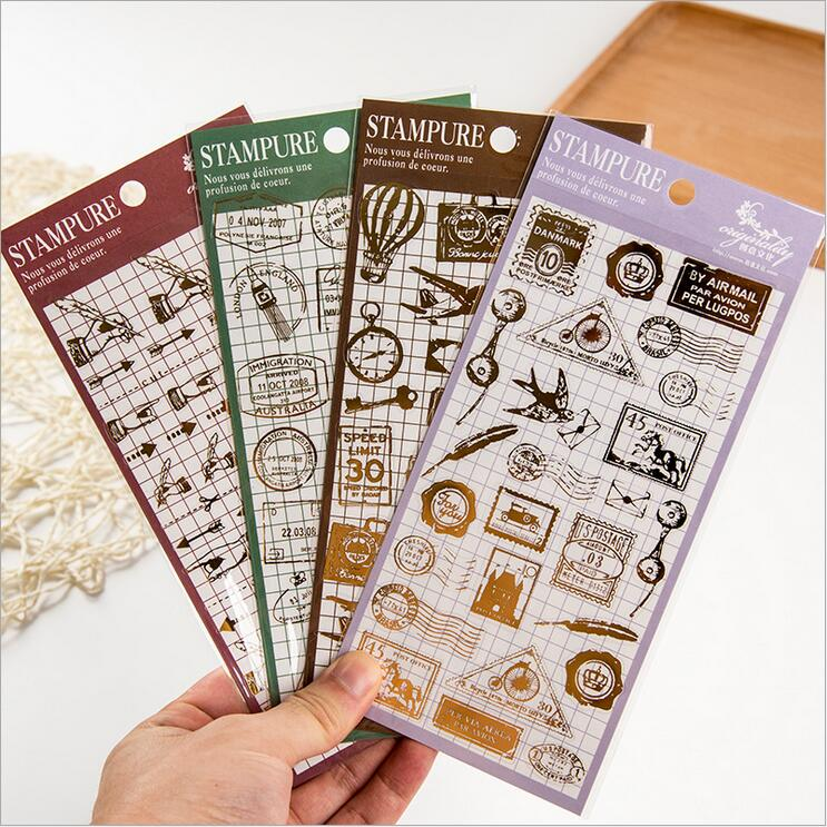 Vintage Postage Stamps Sticker Transparente Notebook Diary Diy Decoration Stickers Stationery For Midori Planner School Supplies