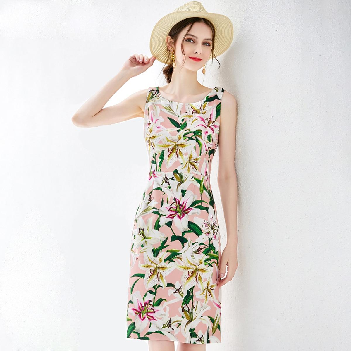 Red RoosaRosee New Women Summer Runway Designer Dress Fashion Sleeveless Floral Print Elegant Vintage Mini Dresses