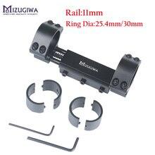חתיכה אחת Airgun רובה היקף הר 25.4mm / 30mm זוגי טבעת W/להפסיק פין 11mm Rail האנט רכבת אורג הר מתאם עם שטוח למעלה