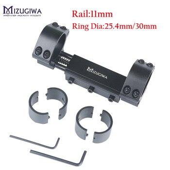 Una pieza Airgun Montaje del visor del Rifle 25,4mm/30mm de doble anillo/parada Pin 11mm Rail Hunt Weaver adaptador de montaje en riel con plana-superior