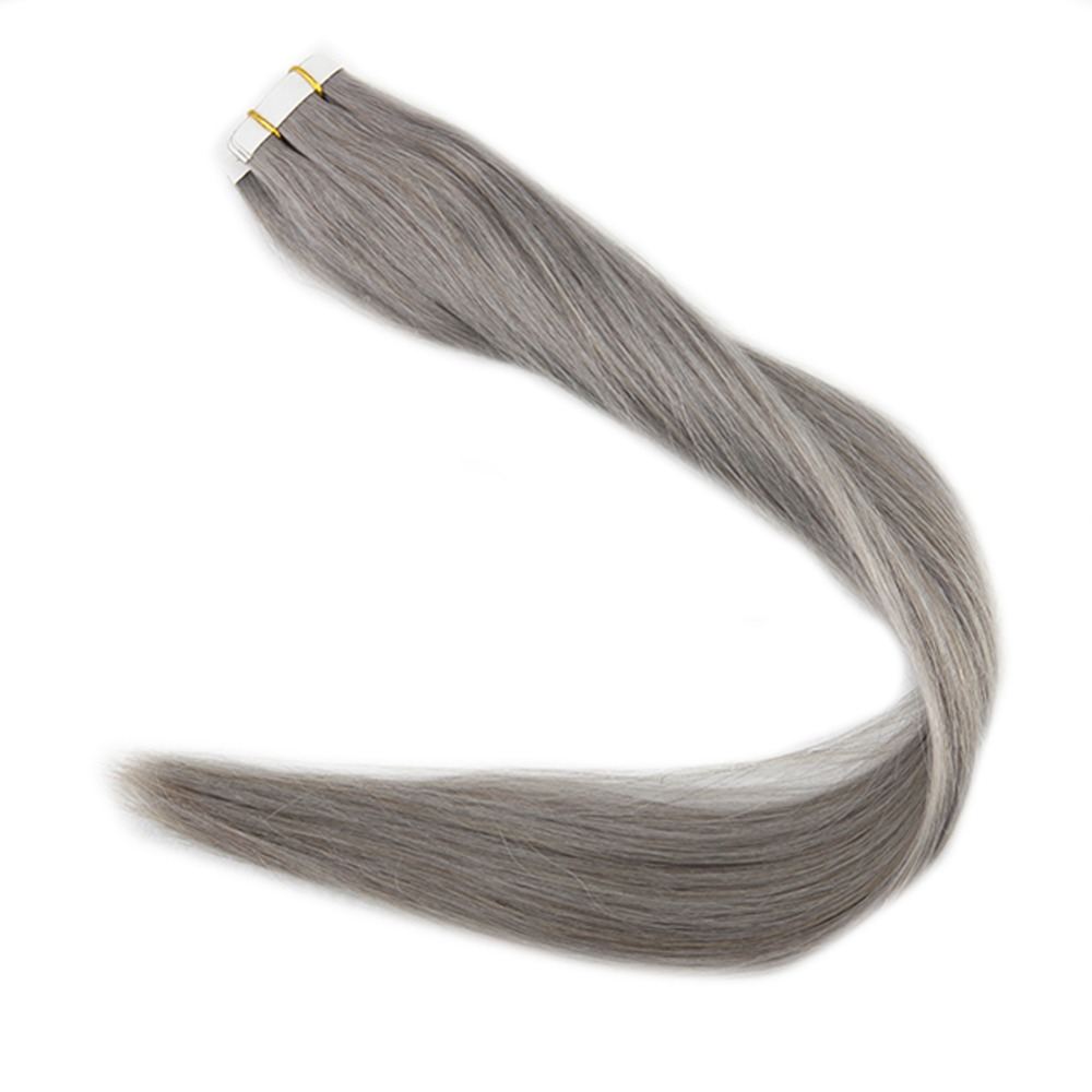 Full Shine Glue in Real Hair Extensions Silver Gray Remy Hair Skin Weft 50g Tape in