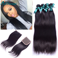 4 bundles Peruvian straight hair with closure sale Peruvian human hair with closure  Peruvian virgin straight hair with closure