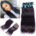 4 pacotes Peruano cabelo liso com venda de encerramento Peruano cabelo humano com encerramento Peruano virgem cabelo liso com fecho