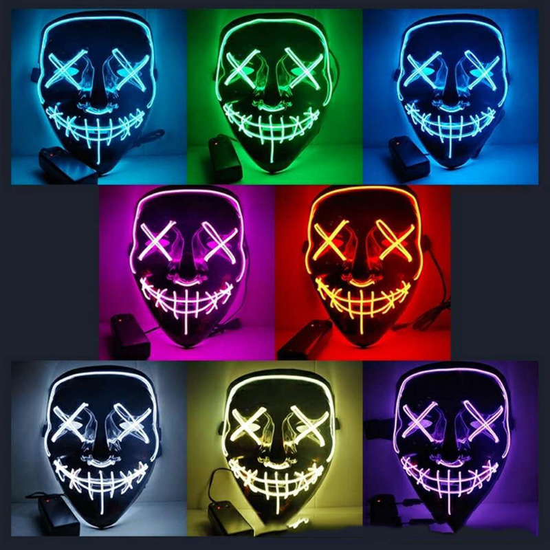 Motorcycle mask LED Light Up Party face shield The Purge Election Funny Masks Festival Cosplay Costume Supplies Glow In Dark