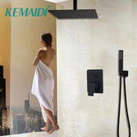 KEMAIDI 8 12 16 Inch Black Shower Rainfall 3 Way Shower Faucet Bathtub Rain Square Shower Head Waterfall Spout Shower Faucet Set