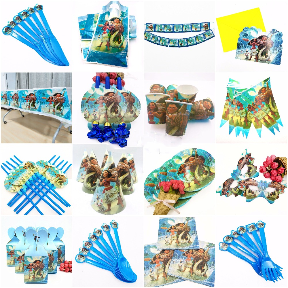 Moana theme kids happy birthday party decoration plate cup straw napkins loot bags disposable tableware party supplies favors in Disposable Party Tableware from Home Garden