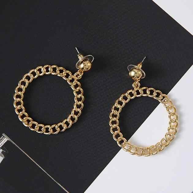 Pendientes redondos de círculo hueco de Color dorado de moda para mujer con eslabones largos que tejen pendientes colgantes para fiesta de regalo para mujer