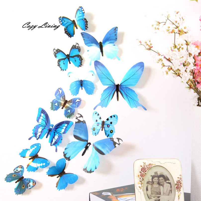 Pegatinas de pared de 5 colores 12 unids 3d diy wall sticker butterfly home deco